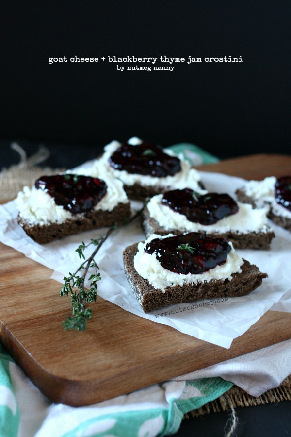This goat cheese and blackberry thyme jam crostini is the perfect party appetizer. The jam is homemade and cooks up in just 20 minutes! How easy is that?