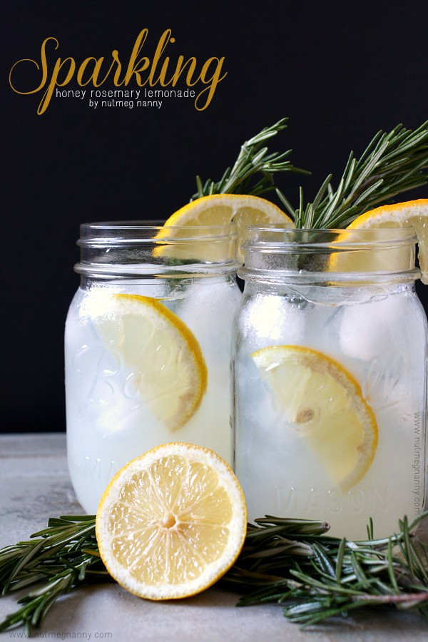 Sparkling Honey Rosemary Lemonade by NutmegNanny.com