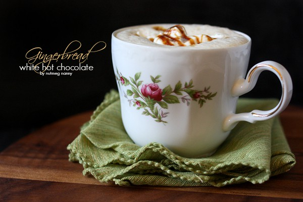 Gingerbread white hot chocolate made in a Vitamix and ready in 4 minutes. Just add cold ingredients to the machine, turn it on and let it do it's work.