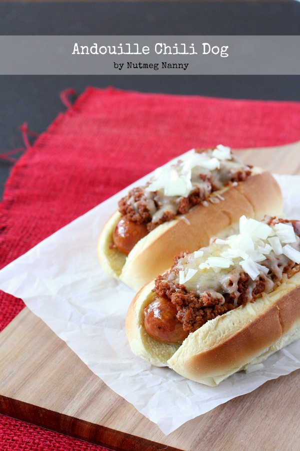 Andouille Chili Dogs by Nutmeg Nanny
