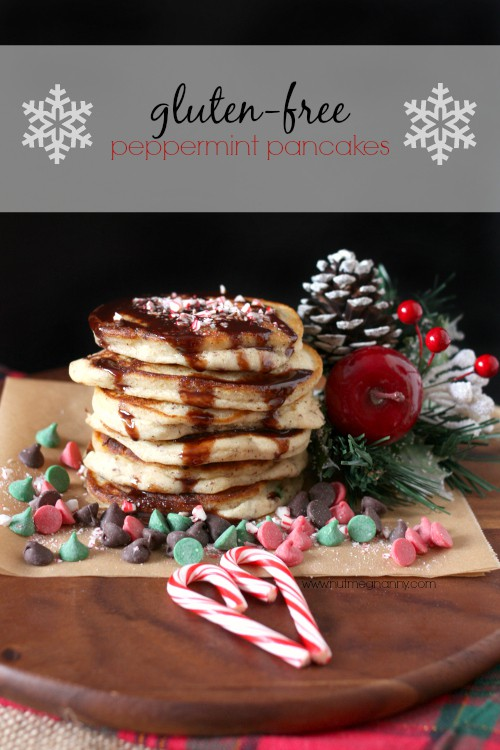 Gluten free peppermint pancakes using Pamela's baking and pancake mix. Mixed with peppermint extract, chocolate chips and topped with chocolate syrup.