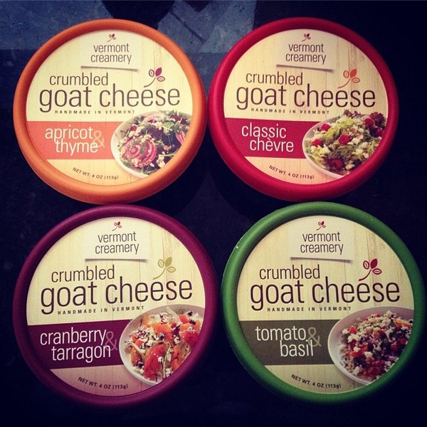 Vermont Creamery Crumbled Goat Cheese via Nutmeg Nanny