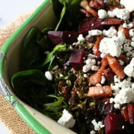 Crispy Roasted Brussels Sprout Beet and Bacon Salad by Nutmeg Nanny