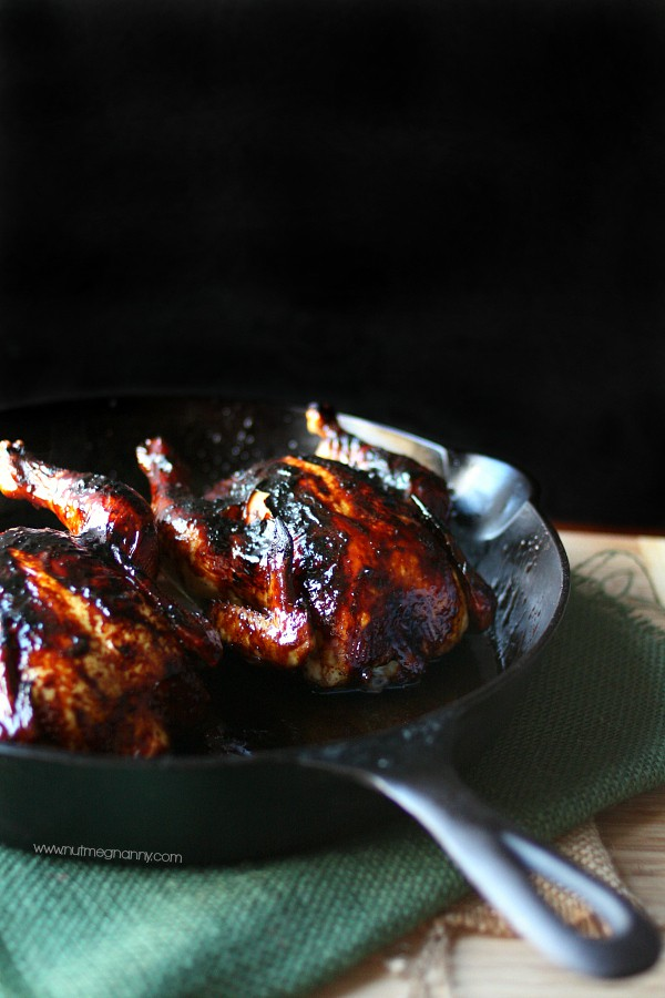 These sweet little pomegranate molasses glazed Cornish hens are the perfect addition to your dinner table. They are full of pomegranate and molasses flavor.