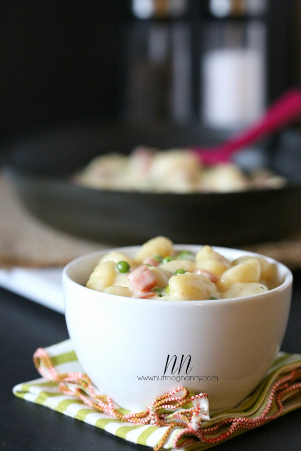 Skillet Cheesy Gnocchi with Peas and Ham by Nutmeg Nanny