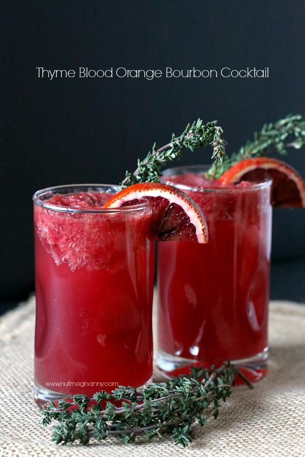This fresh squeeze thyme blood orange bourbon cocktail is the perfect way to use up those delicious blood oranges.