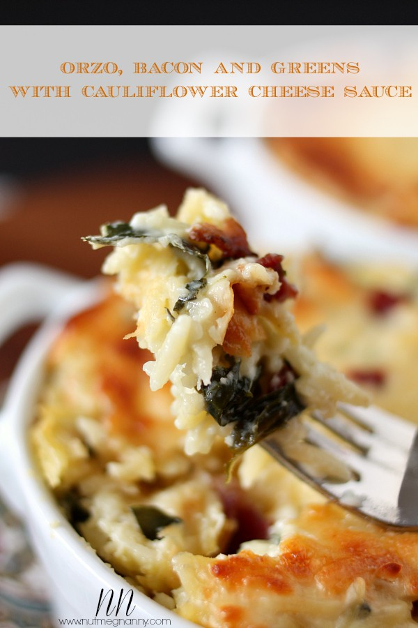 Orzo, Bacon and Greens with Cauliflower Cheese Sauce by Nutmeg Nanny