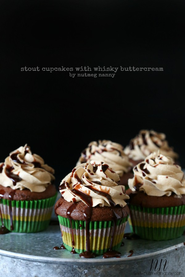 Stout Cupcakes with Whiskey Buttercream by Nutmeg Nanny