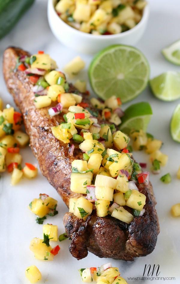 Pork Tenderloin with Pineapple Salsa | Nutmeg Nanny