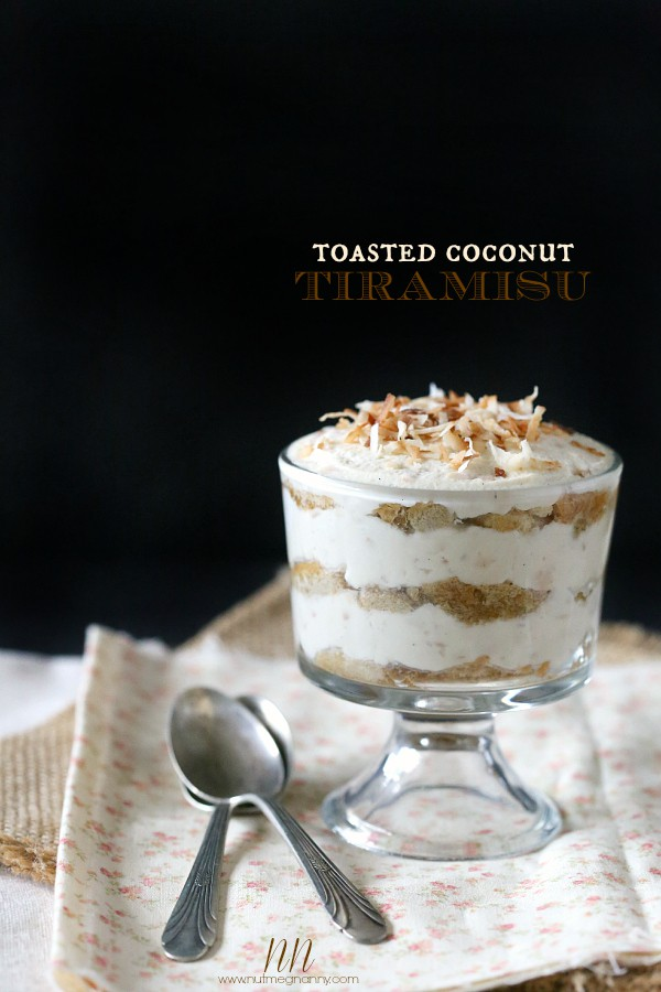 This toasted coconut tiramisu is packed full of sweet mascarpone cheese, toasted coconut and coffee and rum soaked ladyfingers. Plus it's no bake!