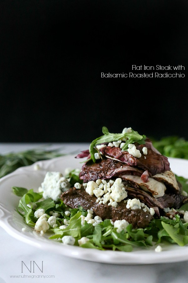 Flat Iron Steak with Balsamic Roasted Radicchio by Nutmeg Nanny