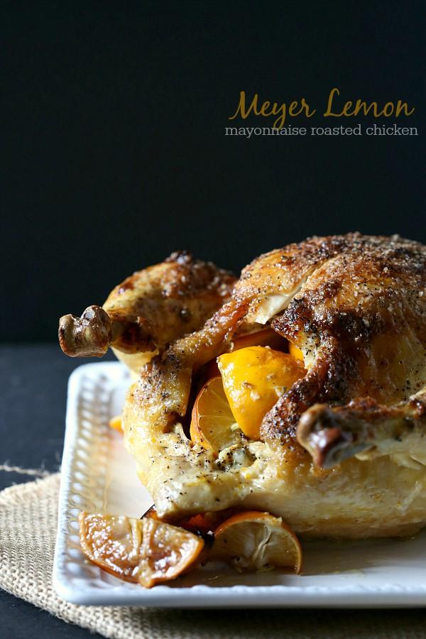 Meyer Lemon Mayonnaise Roasted Chicken by Nutmeg Nanny