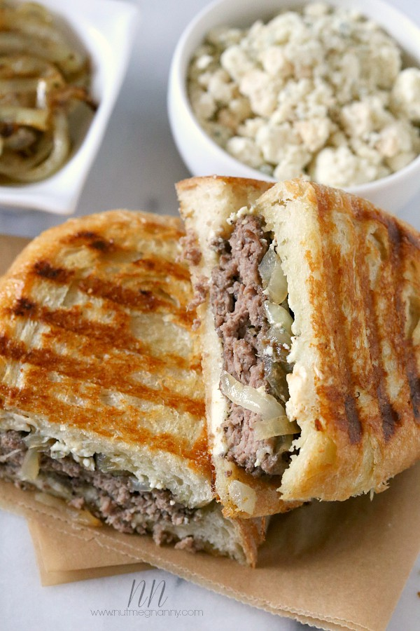 This smoked blue cheese patty melt is packed full of sautéed onions, smoked blue cheese, crusty sourdough bread and a perfectly cooked burger.
