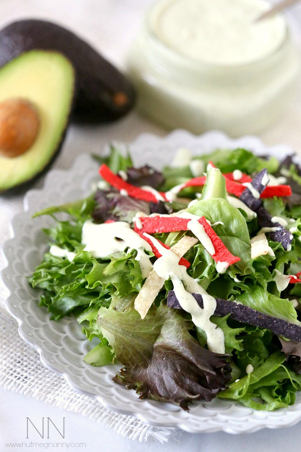 This creamy dairy free avocado ranch dressing is perfect on top of salad or even as a quick vegetable dip. Don't pick the bottle when you can make it from scratch.