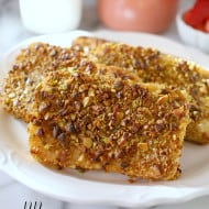 Pistachio Crusted Angel Food Cake French Toast by Nutmeg Nanny