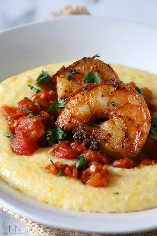 Spicy Shrimp Over Creamy Polenta Recipe by Nutmeg Nanny