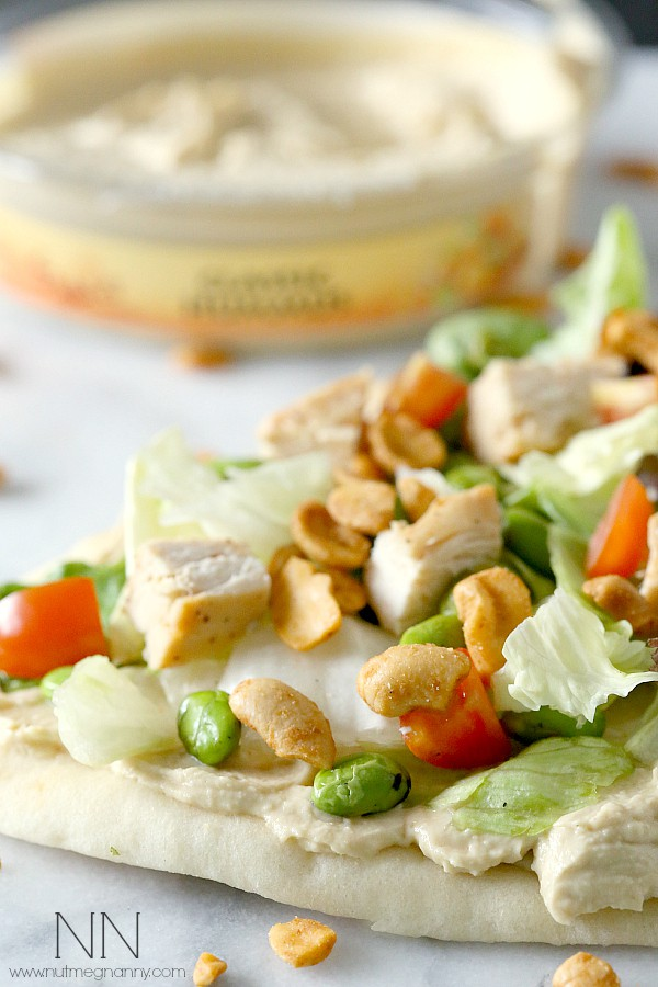 Asian Salad Hummus Flatbread by Nutmeg Nanny