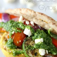 Grilled Vegetable Gyros with Arugula Mint Pesto via Nutmeg Nanny