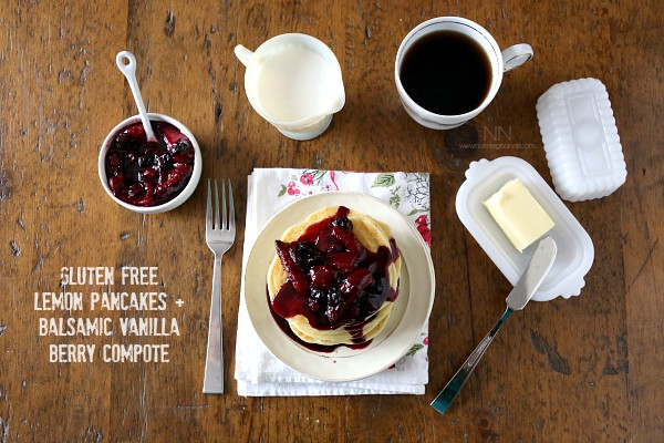These gluten free lemon pancakes with balsamic berry compote are light in flavor and are the perfect flavor packed breakfast. You'll love how easy these are to make and will be a delicious addition to your lazy weekend breakfast routine!
