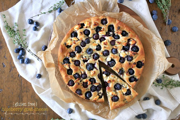 Gluten Free Blueberry Goat Cheese Focaccia by Nutmeg Nanny