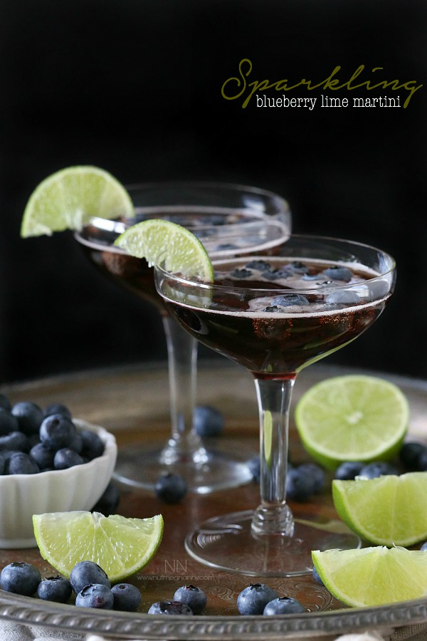 Sparkling Blueberry Lime Martini by Nutmeg Nanny