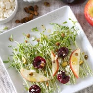 Pea Shoot, Pickled Cherry and Apple Salad by Nutmeg Nanny