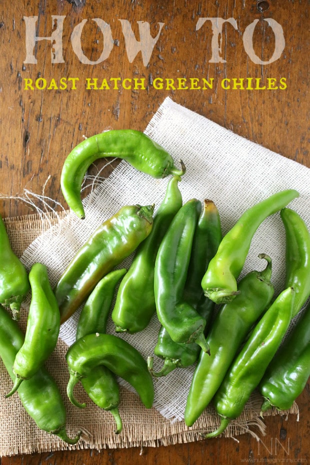 fresh hatch green chiles on a table