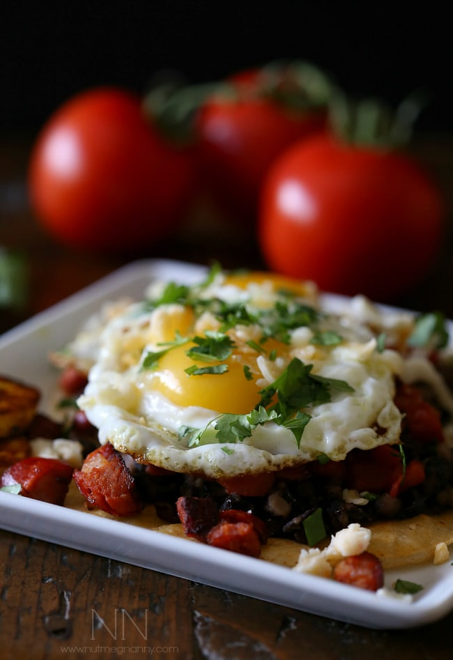 If you have never heard of huevos motulenos you are in for a treat! Crispy corn tortillas topped with black beans, chorizo, tomato, plantains, cheese, eggs and just a sprinkle of cilantro. This is not your average breakfast dish!