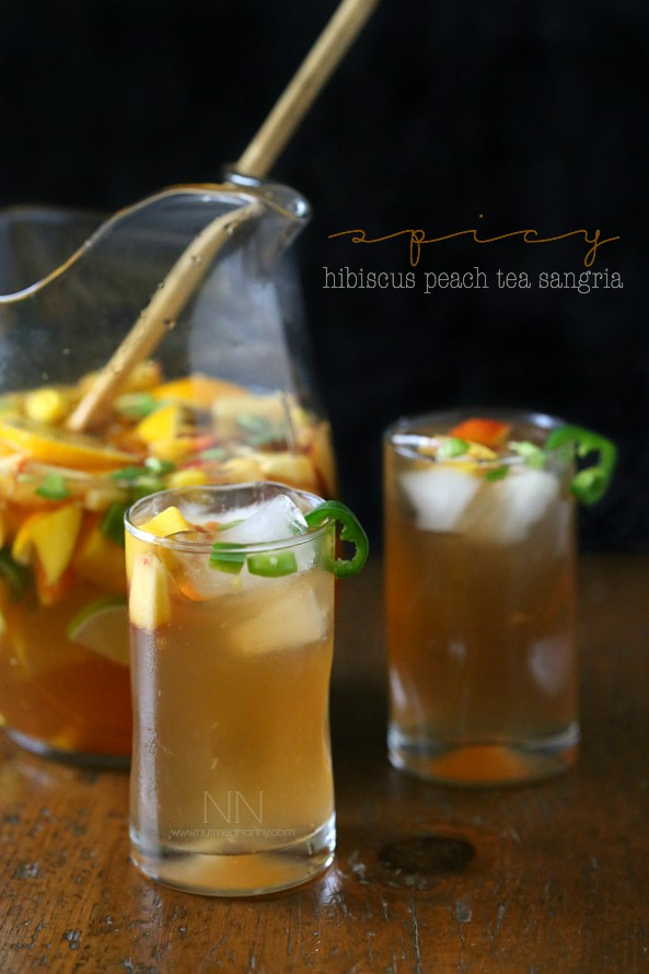 Spicy Hibiscus Peach Tea Sangria by Nutmeg Nanny