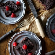 Raspberry Chipotle Black Bean Brownies by Nutmeg Nanny