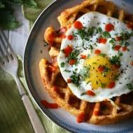 Cheddar Sausage Cornmeal Waffles by Nutmeg Nanny