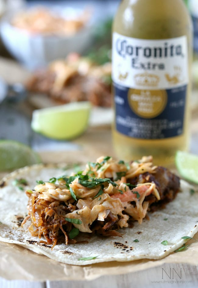 Ginger Beer Pulled Pork Tacos by Nutmeg Nanny