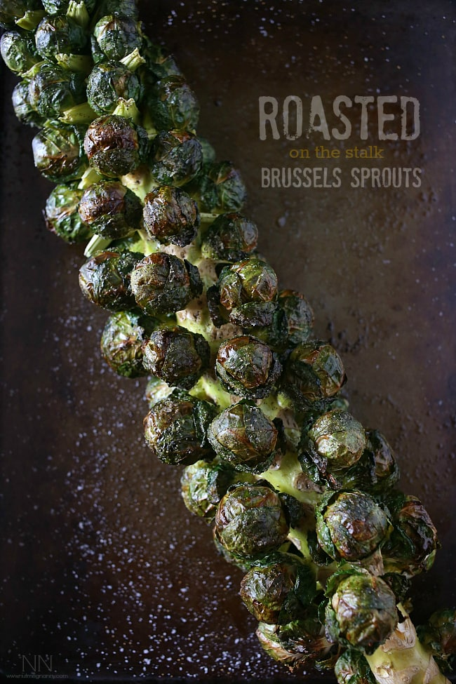 These on the stalk roasted Brussels sprouts are the perfect addition to your holiday spread. They roast up beautifully and easily come right off the stalk.