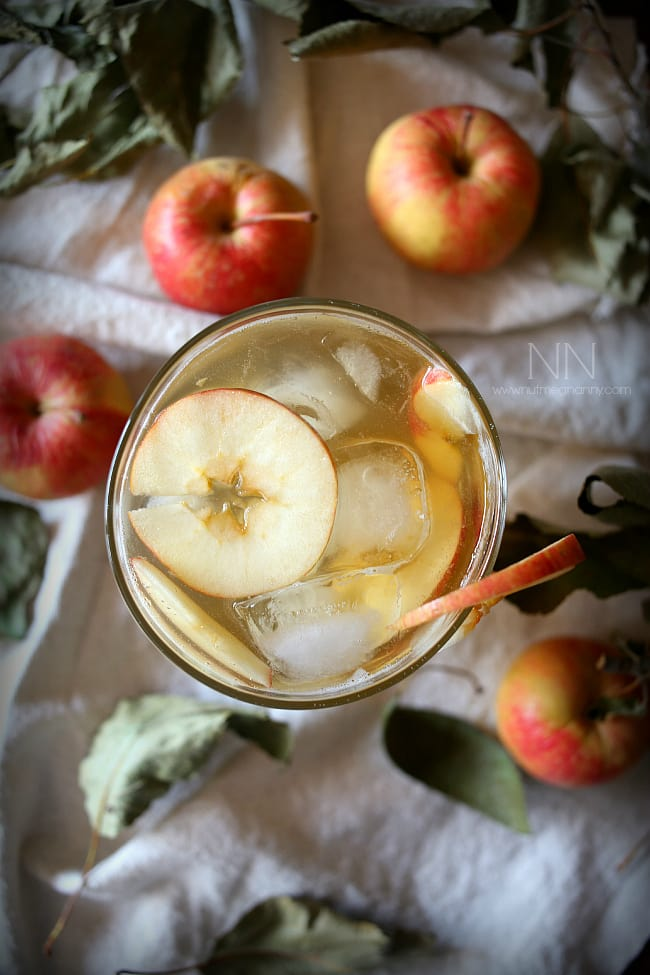 This flavor packed bourbon apple shrub cocktail is the perfect addition to your fall cocktail menu. Made with homemade apple shrub, bourbon, ginger ale and bitters.