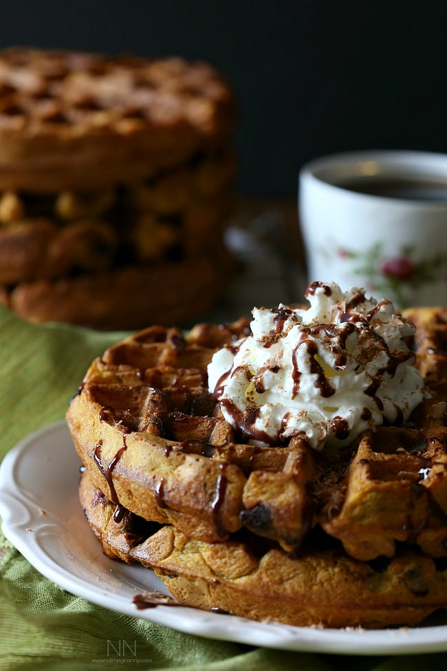 Brown Butter Chocolate Chip Pumpkin Waffles: Nutty brown butter combined with pumpkin and dark chocolate chips. Ready in just 25 minutes!