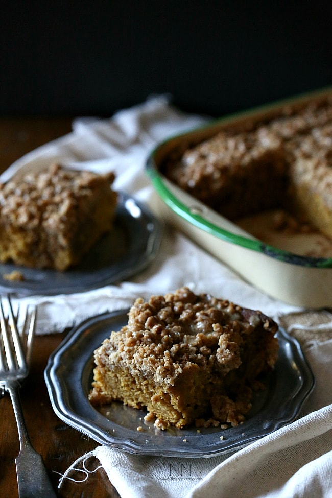 This sweet pumpkin spice latte coffee cake is the perfect way to start your day. Full of pumpkin pie spice and just a little espresso powder. It's like your favorite latte in cake form.