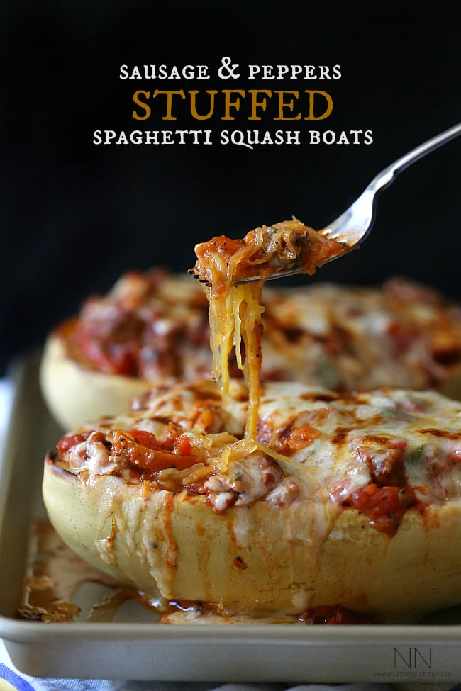 Sausage and Peppers Spaghetti Squash | Nutmeg Nanny