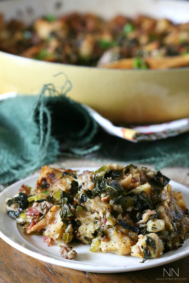 This sourdough kale sausage bacon stuffing is the flavor packed stuffing you need on your Thanksgiving table. You're going to love this combo of double meat and kale.