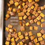 These simple pumpkin cornbread croutons are made from homemade pumpkin sage cornbread and are ready in just minutes! Perfect on soup, salad or in stuffing.