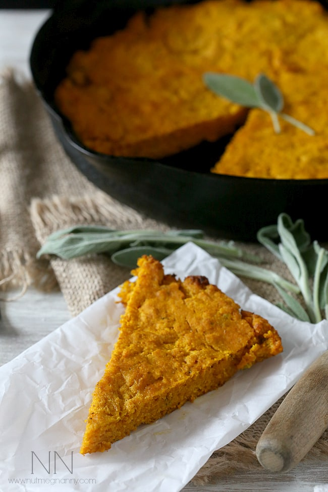 This simple homemade pumpkin sage cornbread can be eaten alone or turned into croutons and then into stuffing. Moist cornbread with a buttery crust - what's not to love?