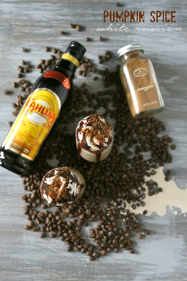 This pumpkin spice white Russian is full of kahlua, cream, pumpkin pie spice and just a drizzle of chocolate syrup. This is the perfect fall cocktail!