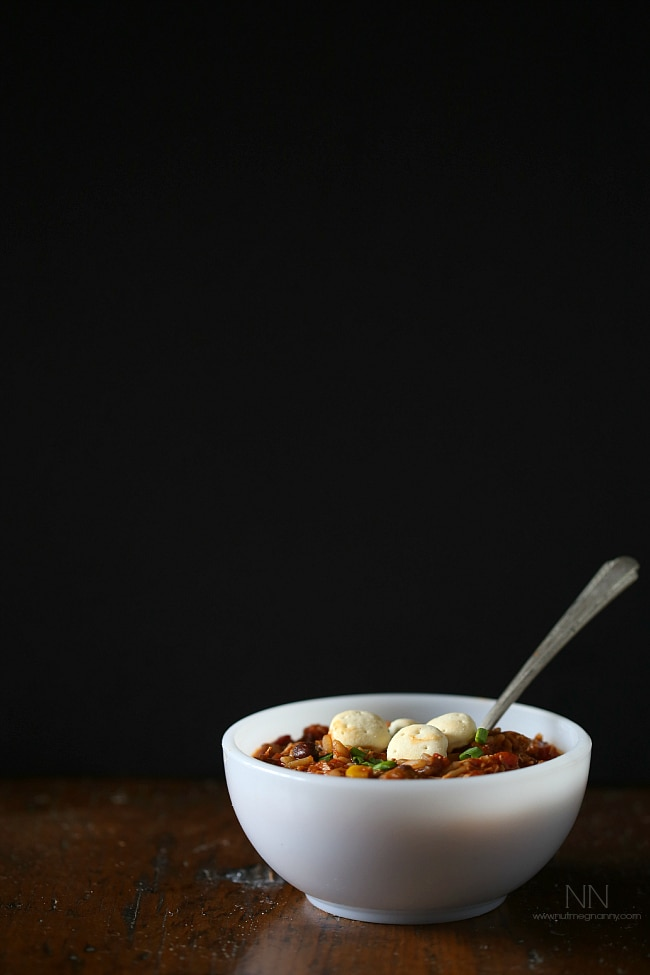 This simple turkey wild rice chili is the perfect way to use up all that leftover Thanksgiving turkey. Full of spicy flavor and perfect when topped with crackers.