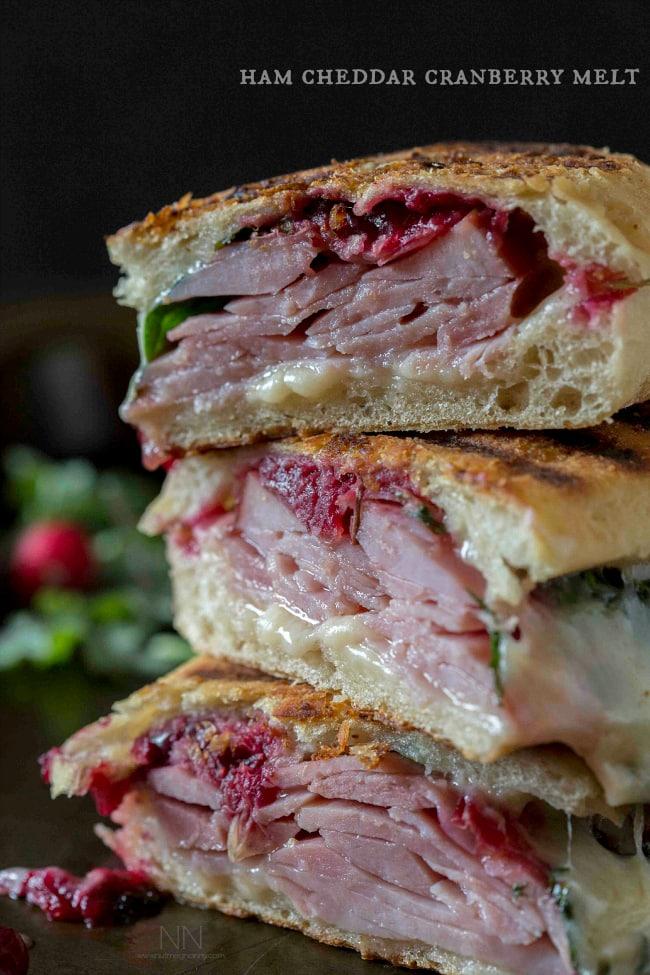 Ham Cheddar Cranberry Melt | http://homemaderecipes.com/cooking-101/14-leftover-ham-recipes/