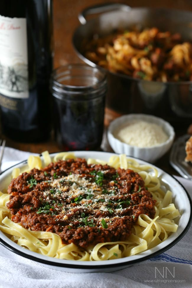 This hearty lamb bolognese is the perfect stick to your ribs winter dish. Full of spices, ground lamb and just a touch of rich red wine.