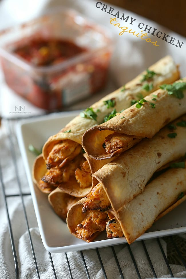 These creamy chicken taquitos are packed full of cream cheese, rotisserie chicken, salsa and lots of shredded pepper jack cheese.