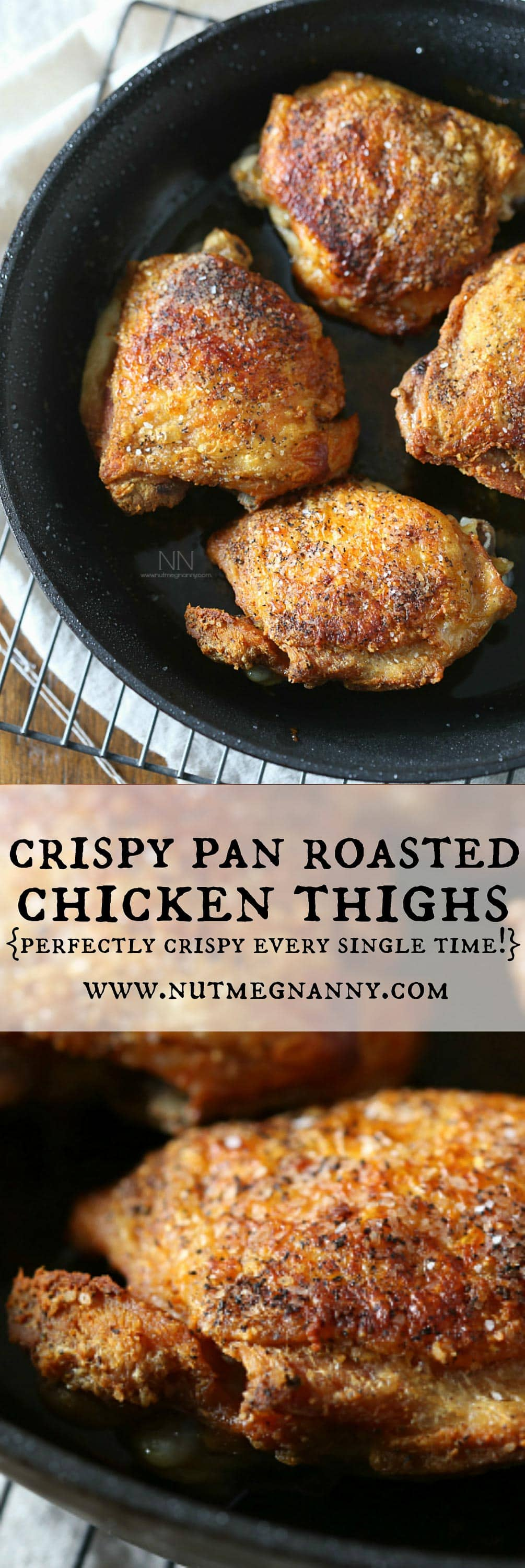 crispy pan roasted chicken thighs in a photo collage