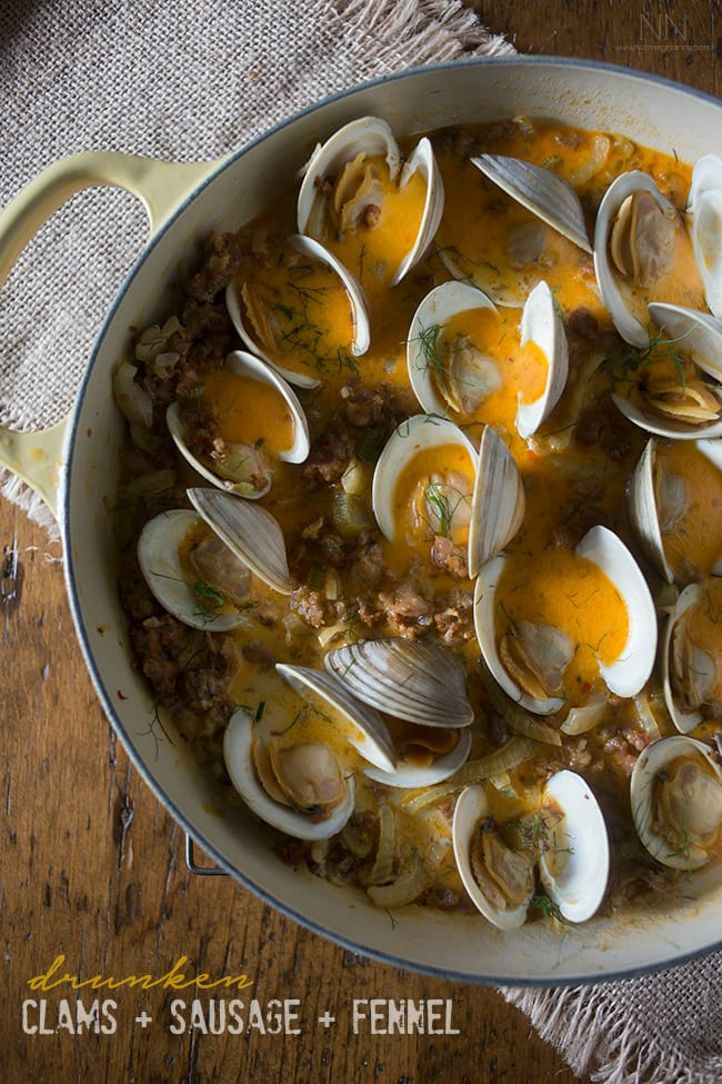 These drunken clams and sausage are paired with white wine, chicken stock, fennel and just a touch of cream. Perfect when served with crusty bread.