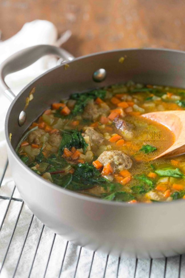 This small batch Italian wedding soup is perfect for small families and singles. No more making enough soup to feed an Army. This simple soup is easy to make and perfect for 2.