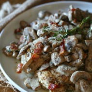 This creamy chicken bacon and mushrooms is the perfect weekday meal. Packed full of flavor and delicious when served with pasta, mashed potatoes or vegetables.