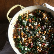 This chorizo chickpea skillet is packed full of spicy chorizo sausage, chickpeas, kale, sweet bell peppers and cotija cheese. Full of flavor, nutritious vegetables and perfect for cold winter days.